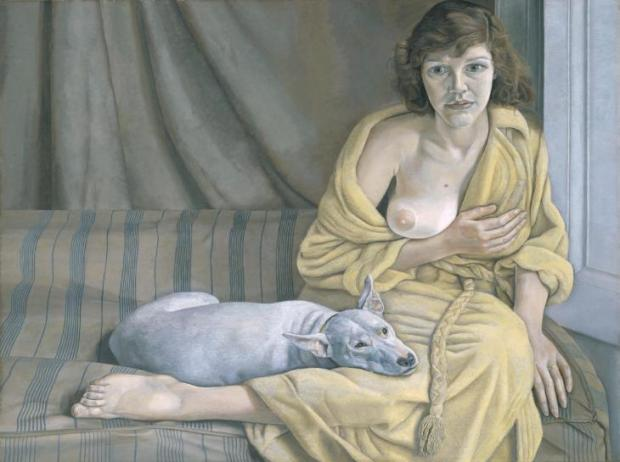 Girl with a White Dog 1950-1 by Lucian Freud 1922-2011